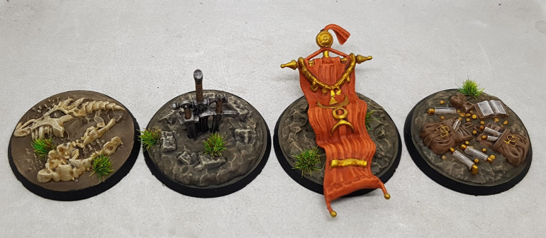 The four non-Spire objectives from the starter set came together quickly while i was waiting for washes etc to dry on the Spires.  If you look close at the dragon skull you can see they sculpted it with an eyeball bone???