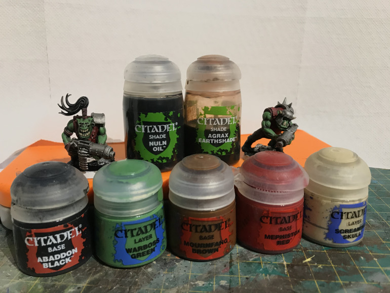 the paints used in addition to a black primer