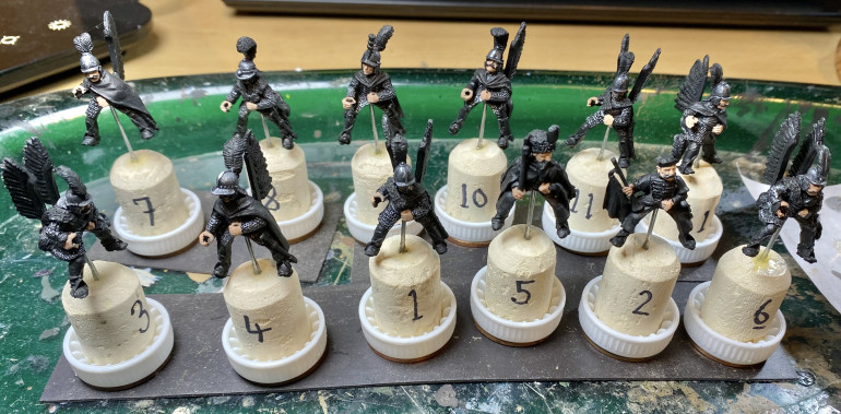 Foundry and TAG riders with armour and flesh colours done. Numbering is to match riders to mounts.