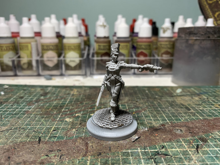 After Singh it had to be Violet, I love the red coat uniform, never painted one before so really looking forward to it. Although that may change when I get into the gold brocade!!