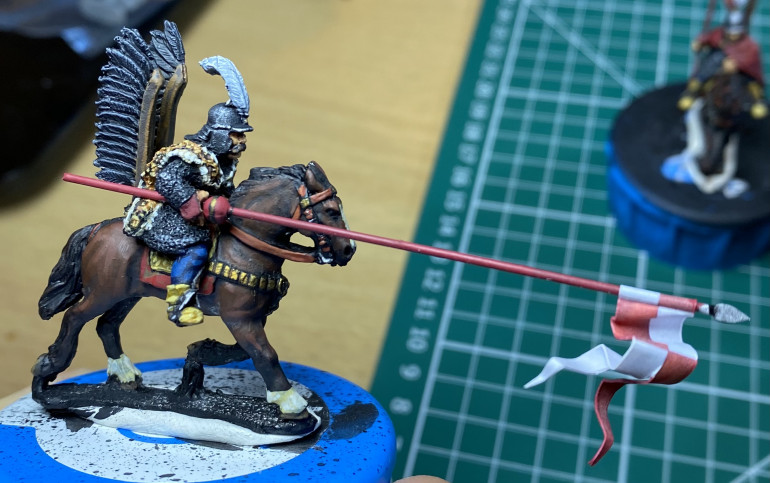Ready for basing - a hussar mounted on his horse with lance