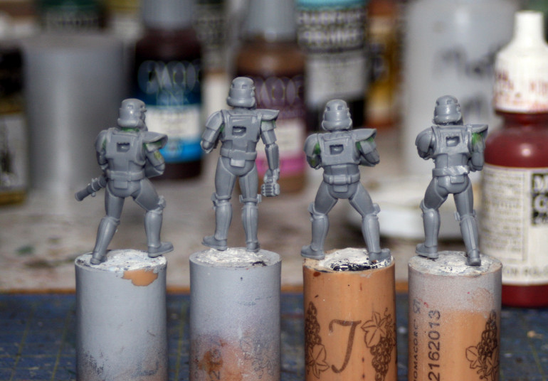 After clean up, I putty-up the models.