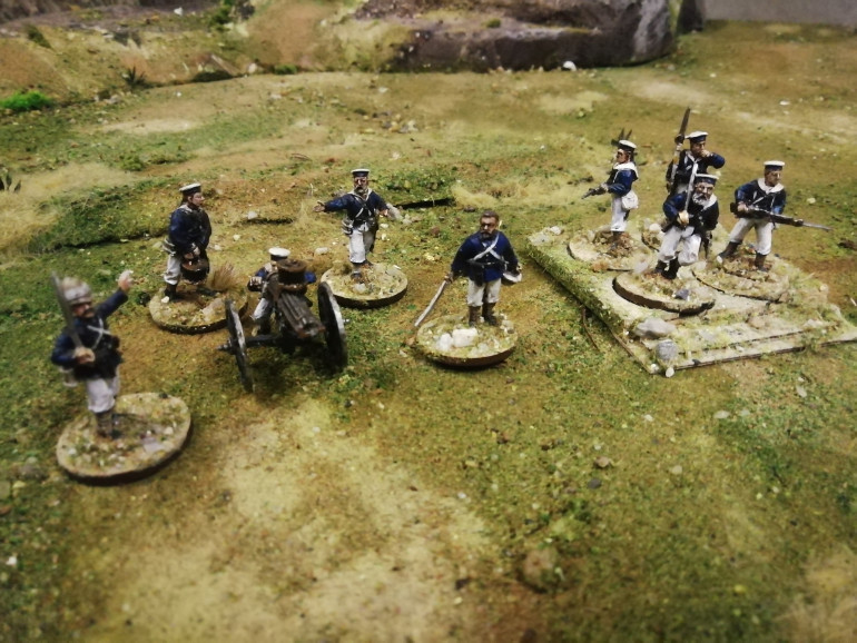 The naval brigade at Nyezane were from HMS Active and the Zulus described them as men in white trousers who charged up a hill to stop an attack so I repainted some trousers to represent them