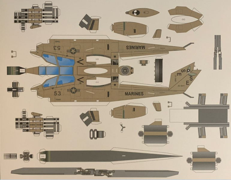 Update in Photoshop to AH-1W, change markings to 1991 US Marine Corps, re-size to fit the intended scale (1:100 will be just short of 6