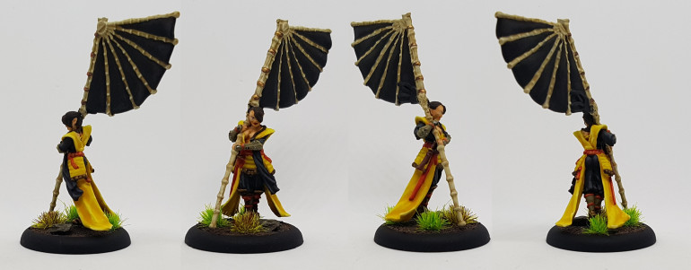 Xianou, Dragon Empire by Titan Forge.  The flag comes in 3 parts and the shaft is maybe narrower than a paperclip and requires pinning to stay on.  Its so fragile they didn't bother to put the bottom on for the studio painted example on their web store.