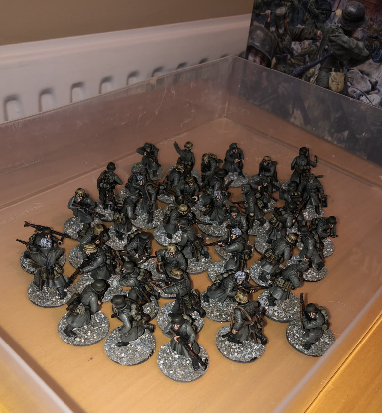 I have now painted and based all of the German infantry! Next I will move onto building the armour in the box!