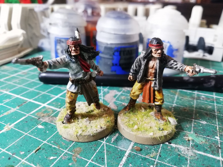 First little batch painted. Two Apaches for the west west. Highway man and cook for the high seas