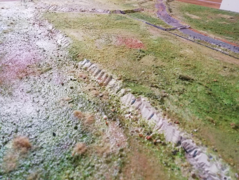 Today I have done two boards together as they both contain the same hill with s little track crossing it. I want to put a Zulu village on this one