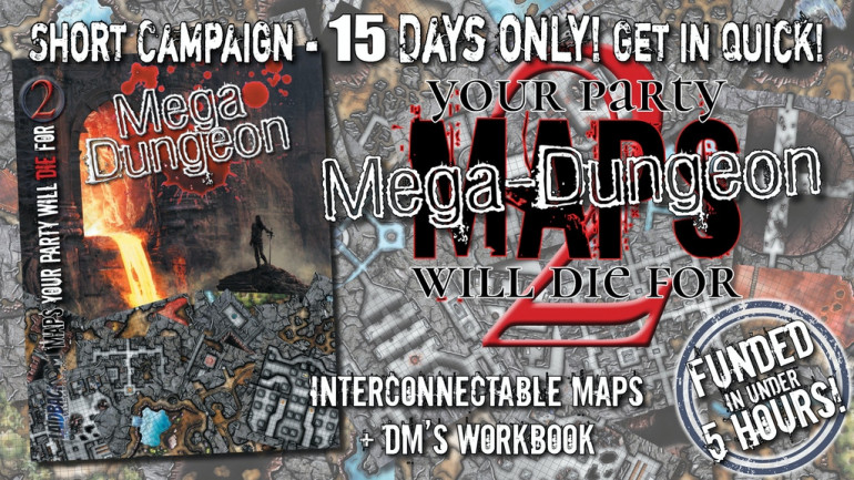 MAPS YOUR PARTY WILL DIE FOR 2: MEGA-DUNGEON Book & Maps