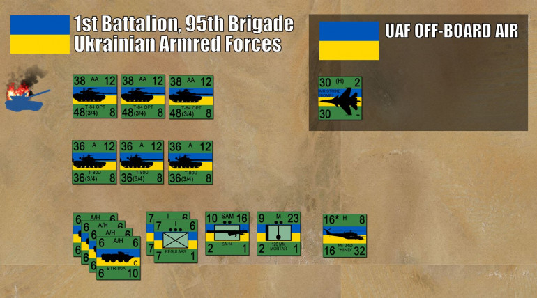 Lead elements of the 95th UAF Brigade.  This scenario gives the UAF a lot of credit, usually these better tanks (especially the T-84 Oblat) are sold off to foreign arms buyers rather than sent to their own soldiers actually in combat.
