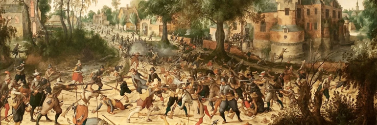 A contemporary picture of infantry fighting in the first part of the 17th century.