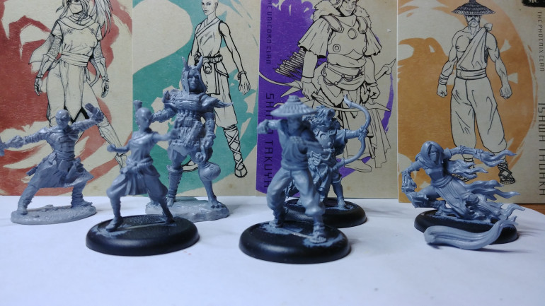 Primed and ready to go.  Four of the minis are from Privateer Press while the Oni and Sajan from Reaper