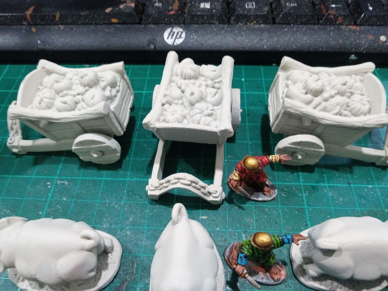 As you can see the carts are filled with all sorts of Food for the Halflings. Spray Undercoated with Wraithbone