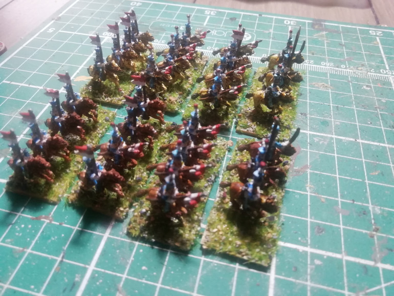 Two units of French lancers. There seemed to be a lot of colour schemes to choose from so I went for sky blue