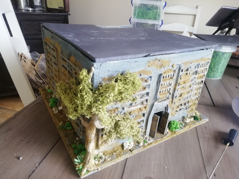 I completely forgot about this project. Been distracted as usual. My temple build continues at last with more rubble and foliage followed by the roof with stairs access
