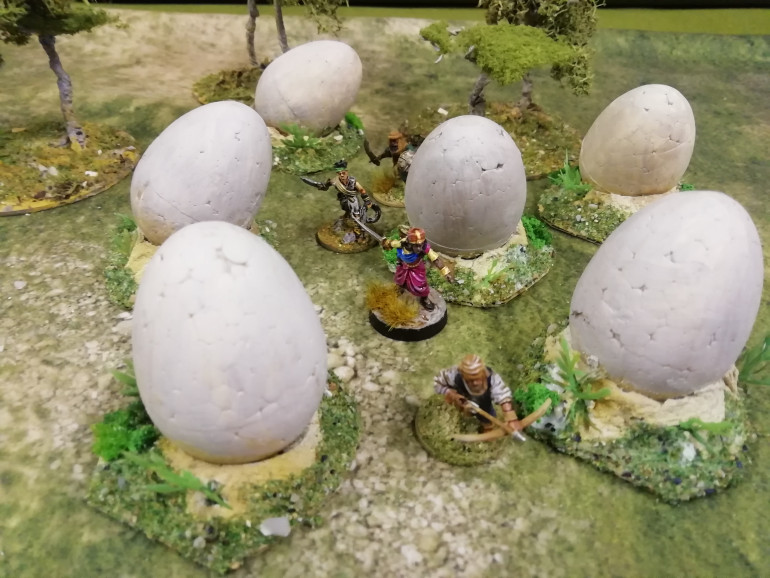 As it's Easter I picked up these polystyrene eggs that come with paints for kids to paint for just a pound. They are a bit big but it's s fantasy creature that has laid them. Just don't want to meet them.