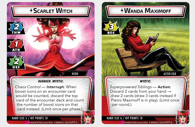Scarlet Witch Hero Card - Marvel Champions