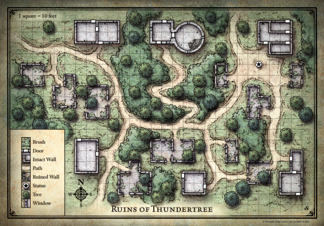 Thundertree.  Some buildings are still intact, but most are in ruin.  There is supposed to be a dragon in the tower to the north.