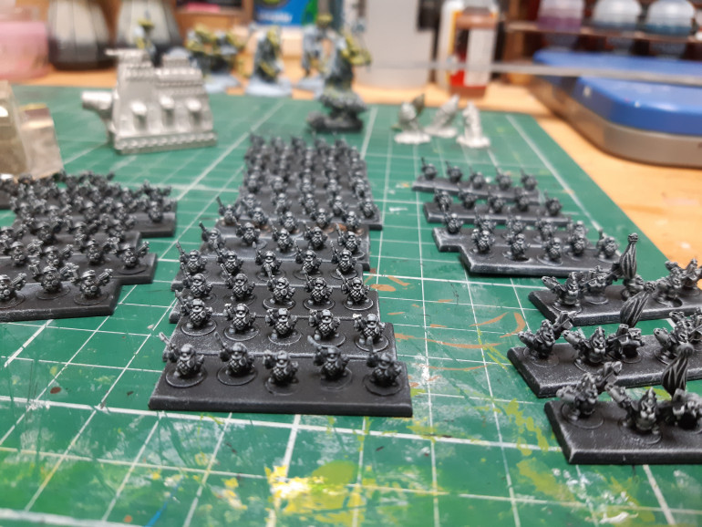 All getting a dry brush of Grey Seer.