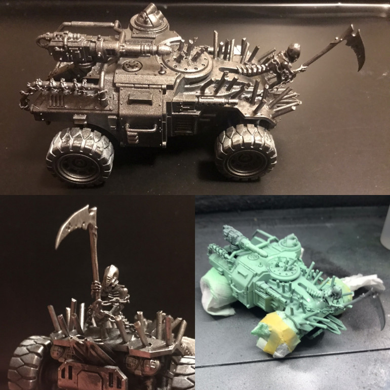 Following the mad max theme I spiked up some Ridge runners form the genestealer cults range . Drilling holes then glueing in 2 mm brass rods snipping the ends . I wanted a figure head like the bow of a ship so I found one from the undead mortis engine .