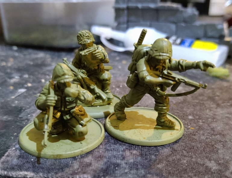 My lieutenant team. Officer with katana, metal guy checking a map and last guy with cool spare metal head and bottle arm to show him drinking.