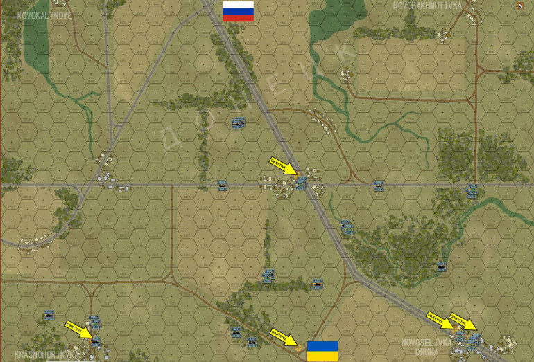 Here is the battle map, with 200-meter hexes, based on satellite imagery, showing a few square kilometers of the countryside immediately north of Adviika.  The scenario will imagine the advanced guard (reinforced battalion with brigade support assets) of 27th Motorized Rifle Brigade / 1st Guards Tank Army moving onto the norther edge of the board.  This is a real unit recently transferred near the Ukrainian border.  If (God forbid) this war actually kicks off, we may be hearing from these guys in particular.  Opposing them are elements of the actual Ukrainian Armed Forces unit charged with defending this area, the 93rd UAF Mechanized Brigade (CDO East).  The Ukrainians currently hold all five objective hexes.  The Russians have to take at least three.