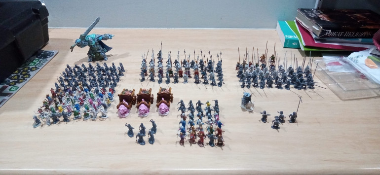 The Current Army, Notice the Giant being properly Giant next to the Halflings. This weekend I'll go out and pick up another two to complete the trio