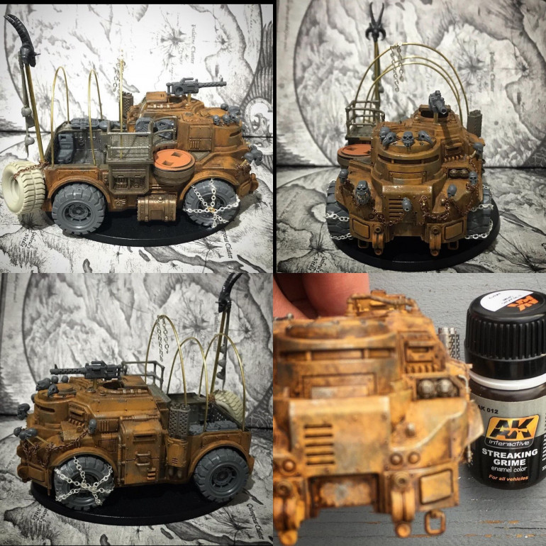 using cheap 3 mm chain i wrapped it around the wheels then guled them in place . Chaining a spare resin wheel to the back badder pole , also looped chain in brass skull racks ( bless the mortal realms cheap skull packs )