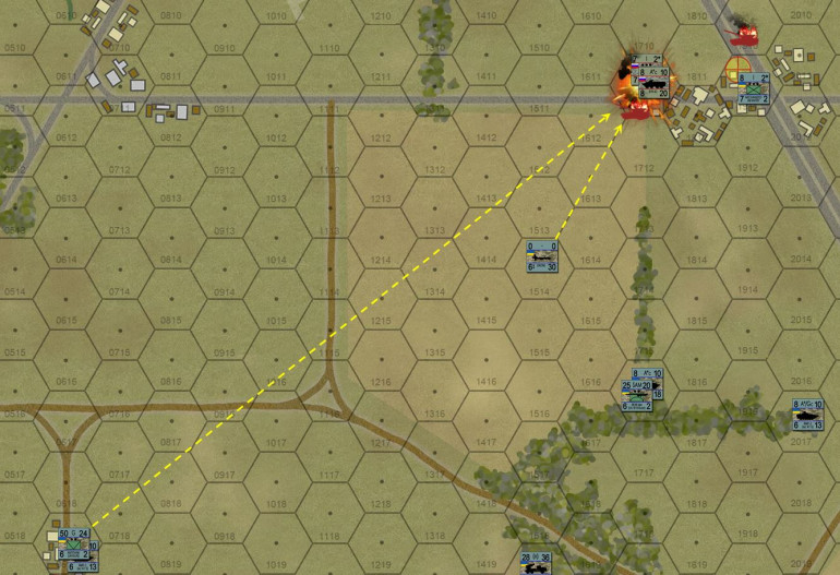 """Those American-supplied Javelins make their presence felt.  Given their extremely broad field of fire (good job on deploying these, Damon) and their incredible range and hitting power, they cause me to basically avoid the whole western third of the table.  Avoid them as I may, I still get clipped as I maneuver BTR-82s with motorized infantry into the western wing of that highway overpass rest stop.  Yes, I have that objective hex (yellow target icon) flanked, but it cost me.  Good news, I have that Javelin position spotted now, and two batteries of BM-21 """"Grad"""" rocket trucks with nothing to do …"""