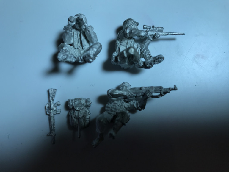 The next models in my painting pile of shame are a US Marine sniper team and a VC Sniper perfect for adding to a spider hole or other suitable covered onservation spot.