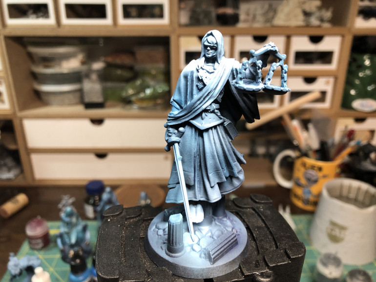 Finally, Justice comes onto the painting table, the last virtue we will paint before testing out the game. Justice was airbrushed in the fashion of the other 3 virtues...