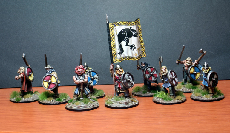 The group shot. Note that my warriors do not have fancy shields or chainmail.