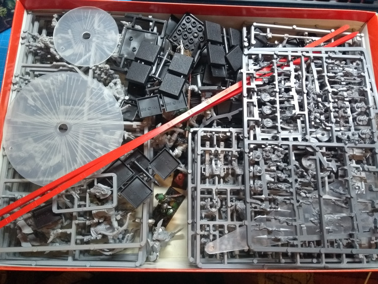 A box of Warhammer Fantasy Battle... was one box brand new... at some point got added the orc content of another box...