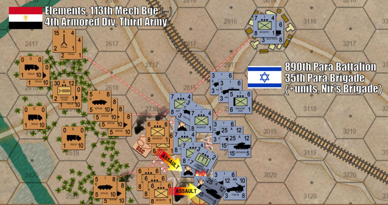 A huge battle kicks off in the south, where Damon has seized an objective hex controlling a key road the divisional commander will need to continue the overall drive down to Port Suez.  This one ... will get messy.