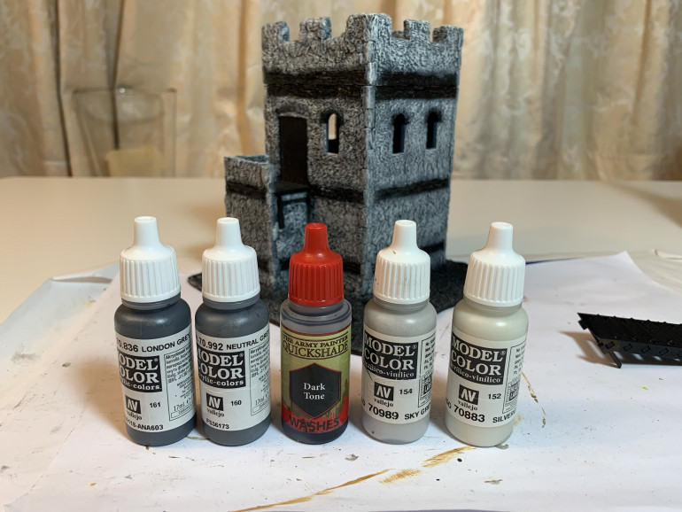 The paints used in order from left to right