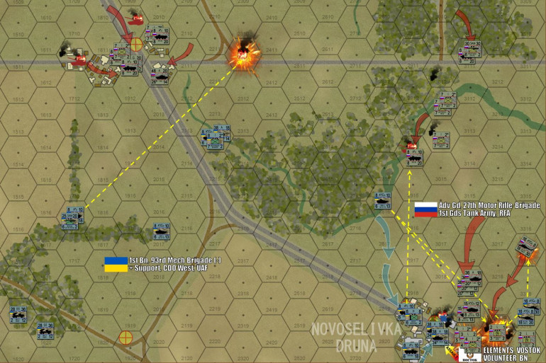 """By the end of Turn 3, the battle has well and truly kicked off.  To the east, that T-72B3 / BMP-3 task forces has thundered up out of that wooded gully and smashed headlong into the town of Novaselivka Druna, assisted by insurgents and mobs of the """"Vostok Battalion"""" separatists.  The Vostok Separatists take hideous losses, as do my BMP-3 motorized infantry.  But concentrated tank and autocannon fire soon pin down two platoons of UAF mechanized infantry, then followed up by a """"close assault"""" street battle of my thoroughly-disposable Vostok Separatists.  They succeed in mopping up Damon's infantry and HQ unit, which means the laptops controlling the drones are lost.  Gotta admit, I breathe a sigh of relief on that one, given their """"spot under cover on a 1-4 roll"""" rule, NOTHING was hidden from Damon's missiles with those surveillance drones in the air.  Damon scrambles to reinforce his crumbling right at Novoselivka Druna, including his two flights of Mi-24V Hind-E gunships.  I try to counter with my own two """"Krokodil"""" Mi-24 gunships (no, Russians do NOT call Mi-24s """"Hinds"""" – that is a NATO designation) – but Damon SHOOTS ONE OF THEM DOWN with a hidden section of SA-18 """"Grouse"""" MANPADS missiles.  You can see the crash site in Hex 2311."""
