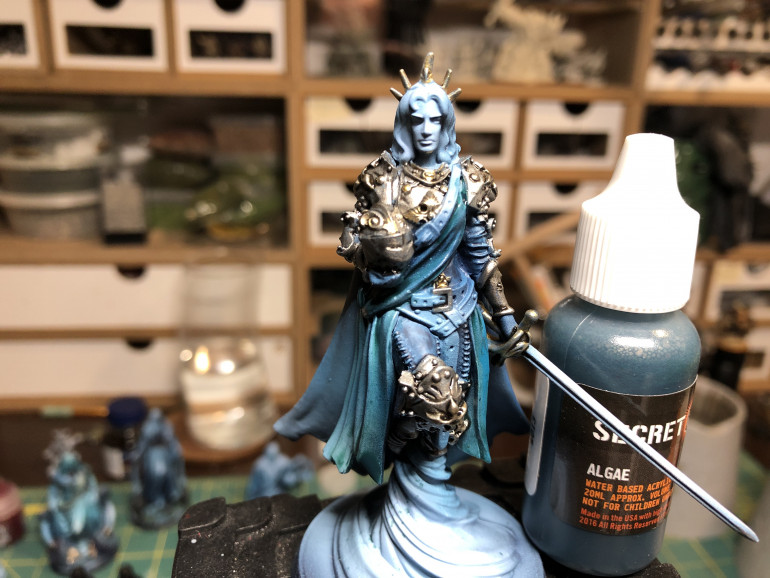 The sash and overdress were applied a diluted layer of Secret Weapon Algae wash (try their washes, they are magical). Try a blueish wash for the leather pants so as to create a nice contrast.