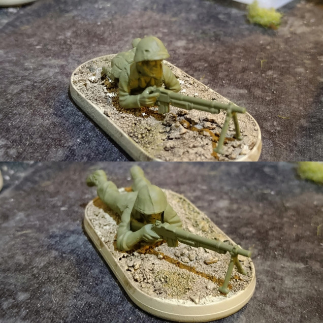 BAR using standard prone USMC sprue firing and using a set of prone Japanese arms.