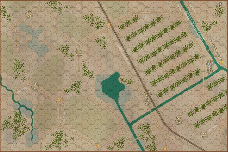 The actual game map for today's engagement.  Yes, this is on the westbank of the Suez, which is much more lush and cultivated than the arid Sinai deserts we've seen in other recent wargames.