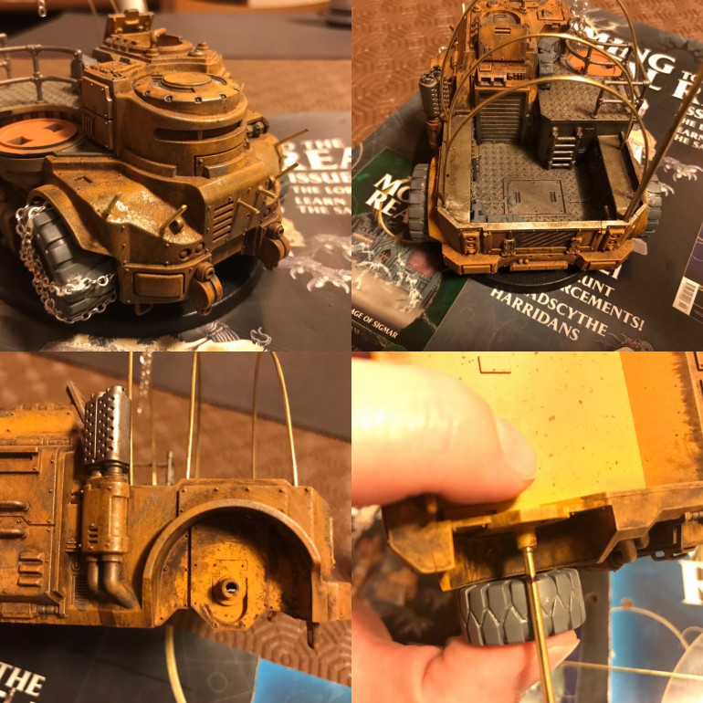 using my old goliath truck i built and base painted a few years ago I widended the back wheel axcel with brass rods . Then bending some thinner 2mm brass rods made the supports for a chanopy that will be made of thin cloth or dry cleaning wipe coloured .