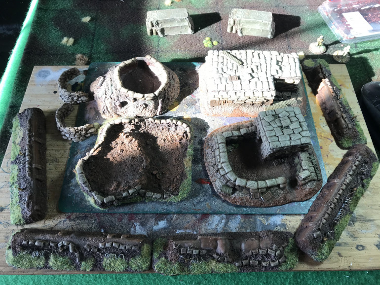 The start of a resin firebase from grubby tanks. Its going to be fun building this up for defensive games