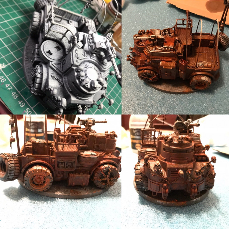 Re paint time ! spraying a zenith black and wriathbone spray paints I then brushed on vallejo metal aluminium . Then using the riza rust like the bikes in places of collected rust I applied AK streaking rust