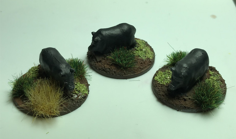 Thought it would be cool to add some livestock to the villages. Starting with these pot bellied pigs from grubby tanks 20mm vietnam range.