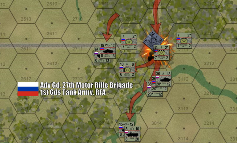 To the east, things are going better for my Russians.  Here, my column of T-72B3 upgrades comes down that wooded country track, running into concealed UAF antitank section with AT-4s, RPGs, etc.  Okay, my lead unit of T-72B3s took the hit and was disordered, but quickly recovered.  Meanwhile, a company of motorized rifles dismounted from BMP-3s behind the tanks.  On my next turn, the other ten T-72B3s (again, five tanks per counter) blew the AT section off the map and this battalion-minus juggernaut plowed south, past the woodland crossroads, using the gully to screen in approach.