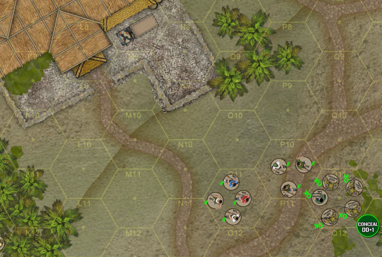 """By Turn 3, Jameson's Alpha Team coerces a SECOND gang of ambivalent insurgents to join government forces, probably offering immunity from prosecution for past looting or arson (common in this conflict).  With so many new allies, Dylan starts to get bold and moves out into across the central """"road"""" toward Reinado's safehouse at upper left"""