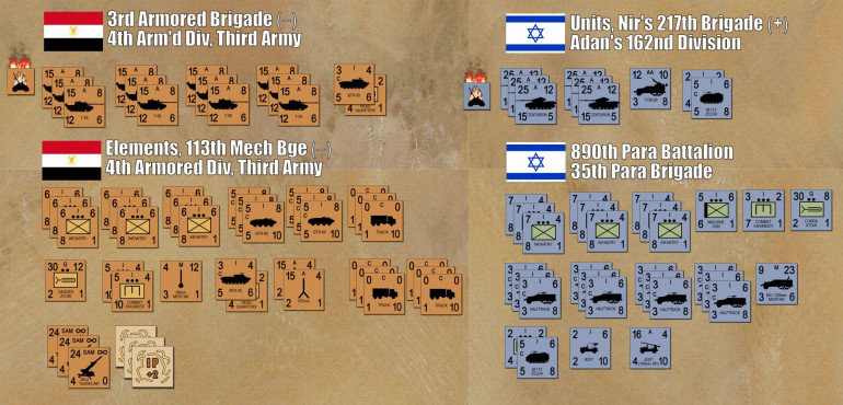 """Here are the forces both sides will have in the game.  For reference, each counter is a unit (platoon or half-company) of five tanks, a platoon of 40-50 men, or a battery of 3-6 guns.  Note I also have three batteries of SA-2 """"Guideline"""" surface-to-air missiles.  These were critical targets for the Israelis on the West Bank of the canal, as their vaunted air force couldn't operate safely until their ground units took out some of these firing sites.  That's right, the ground forces had to """"soften things up"""" for the air force, instead of the other way around.  So I've got about two battalions of about 60 tanks, a battalion of mechanized infantry in BTR-60 troop carriers, and some support assets like combat engineers, Czech 107mm recoilless rifles, and of course a few of the dreaded AT-3 """"Sagger"""" antitank guided missiles.  Damon has a battalion-sized task force of Nir's Brigade in the superlative """"Sh'ot"""" Centurion upgrade, a battalion of elite paratroopers I WW2-era M3 halftracks and a few odds and ends like recon jeeps with 106mm recoilless rifles.  I should also note he has four A-4 Skyhawks on standby.  For their strike packages Damon has selected two with American-supplied Rockeye cluster bombs for antitank work, two with Walleye TV-guided bombs for installations."""
