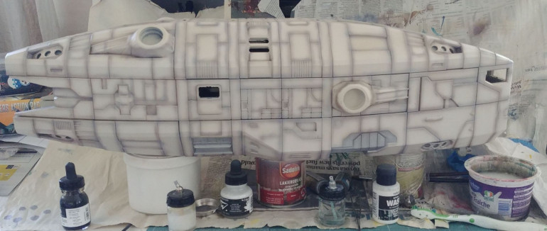 And finally, I switched from my small airbrush to my Chinese blaster of doom – a syphon fed .8 mm nozzle murder machine. I painted couple of layers of Vallejo white wash and transparent raw umber ink (roughly 4:1 mixture).  Final step was to cover it all in solid layer of Pledge floor polish. Now the ship Is ready for decals, which unfortunately I need to design first… That's the next step on the agenda.