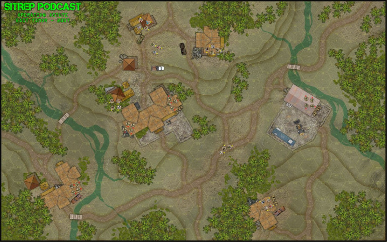 Here is the map for today's game.  Ground scale is about 20 feet a hex.  Each piece will be an individual insurgent, gang member, or operator.