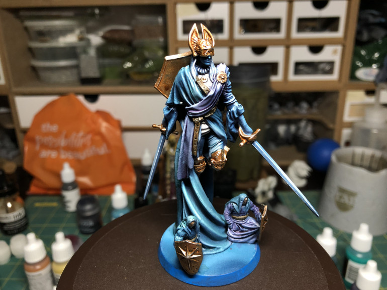 After a light touch up of the base circumference with medium blue, Providence was ready to single handedly assist Solomon Kane in his adventures.