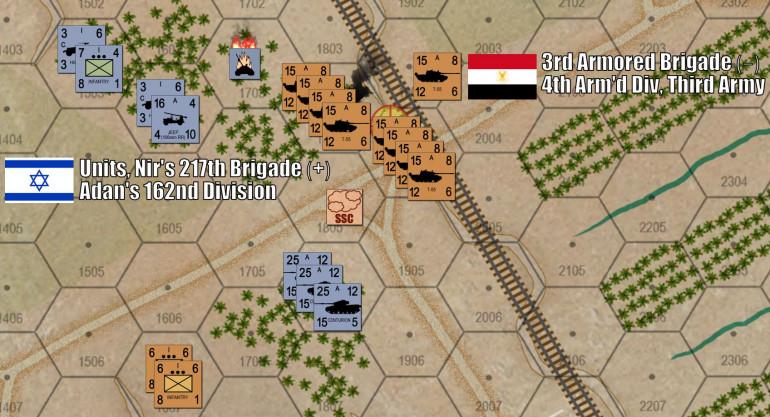 In the north, the battle is (by contrast) oddly quiet.  This is because I've maneuvered in such a way that Damon really can't do much about my presence.  I blow up his 120mm mortar carriers, I try to fire when he side-steps with those 15 Sho'ts to get an angle on my T-55s … but AGAIN I miss.  But now with 45 T-55s on the objective, Damon's gonna have a helluva time shifting me out of here.  And I have 80 infantry (two platoons) with RPGs creeping on his tanks from the southwest.